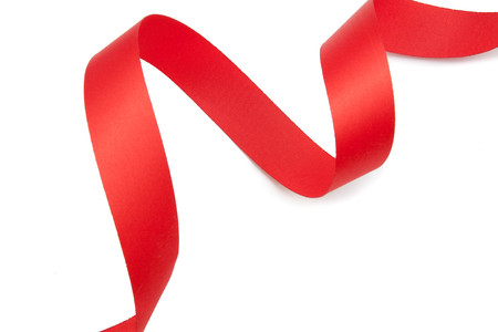 serpentine: red ribbon serpentine isolated on white background Stock Photo