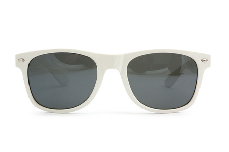 wayfarer: white sunglasses on white background