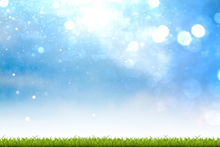 peaceful background: Fresh spring green grass with bokeh background Stock Photo