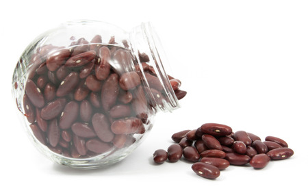 glass jar: Red beans on a white background from glass jar