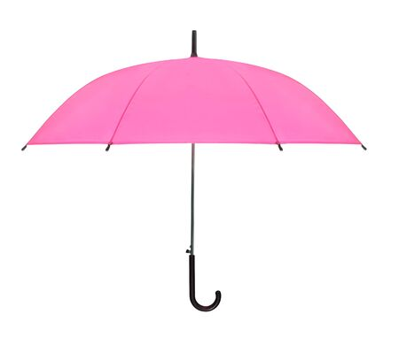 pink umbrella isolated against white background