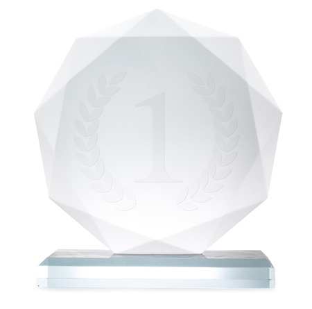 award background: Glass trophy, isolated on white