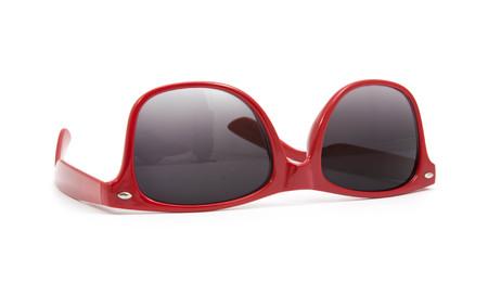wayfarer: red sunglasses on white background