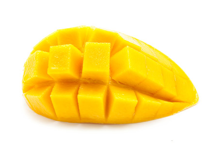slice of mango on a white background