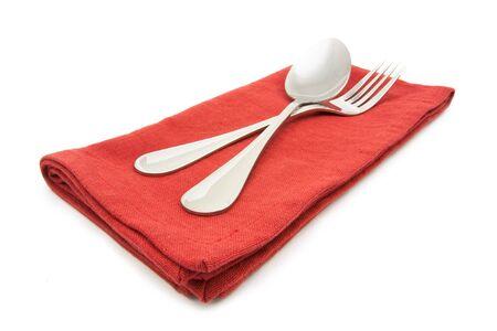 silverware: foto servilleta tenedor de plata aislado en blanco Foto de archivo