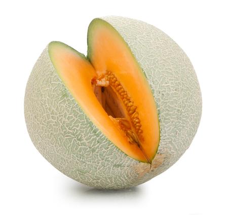 Cantaloupe: Orange cantaloupe melon isolated on white