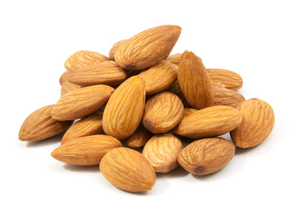 group of almonds isolated on white  background 版權商用圖片