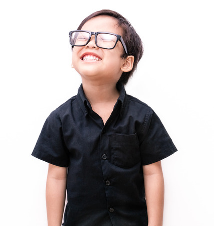 4 5 year old: Back t-shirt with  young little happy, asian boy Stock Photo