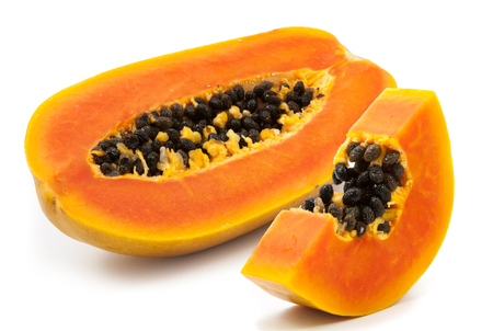 black and white photograph: slices of sweet papaya on white background Stock Photo