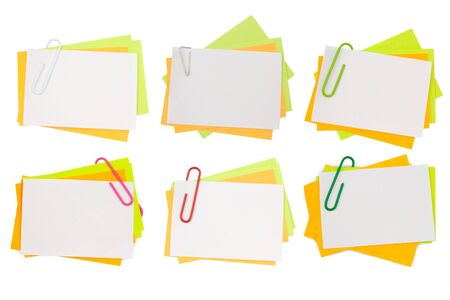 Beautiful collection multi color note with pink paper clip isolated clipping path
