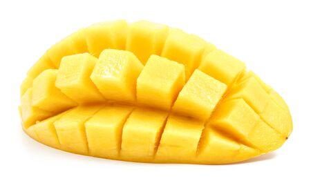 mango slice: mango slice cut to cubes close up isolated on white background