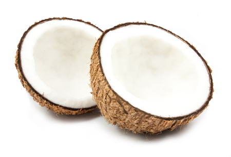 half coconut isolated on white background 版權商用圖片
