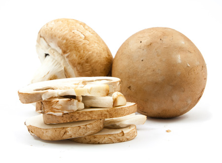 fresh champignons brown version isolated on white background