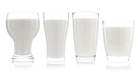 milkman: collection of a cup of milk and bottle of milk isolated on white background