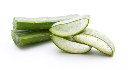 Aloe vera sliced isolated on a white background Stock Photo