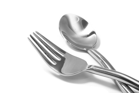 fork and spoon  isolated on white 版權商用圖片