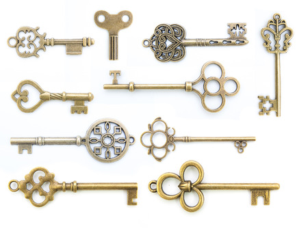 collection of  old key isolated on white background without shadow 版權商用圖片 - 65394427