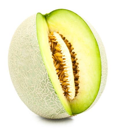 Cantaloupe: green cantaloupe melon isolated on white