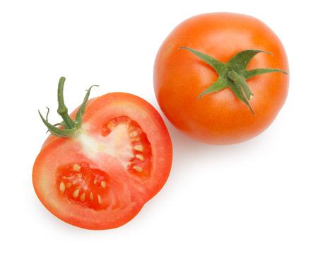 slide tomatoes isolated on white background Stock Photo