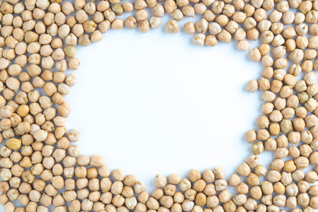 chickpeas beans circle on the white background
