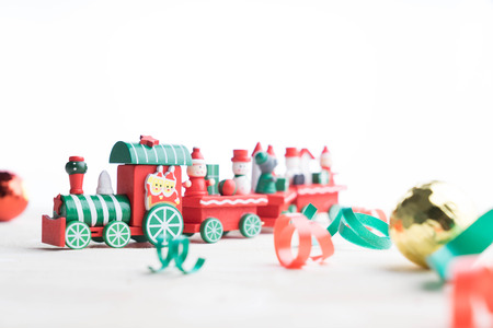 toy train on white background for christmas Stock Photo