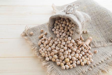 beautiful chickpeas on hemp sack with sack background