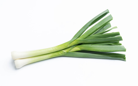 young-green garlic isolated on white background 스톡 콘텐츠