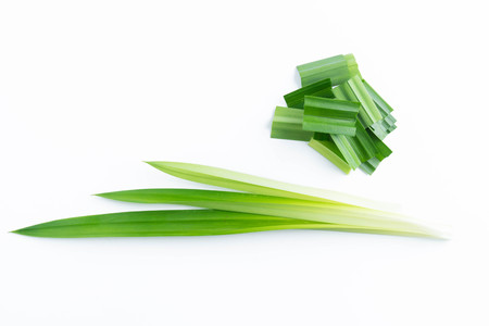 fresh green pandan screwpine leaves isolated on white background