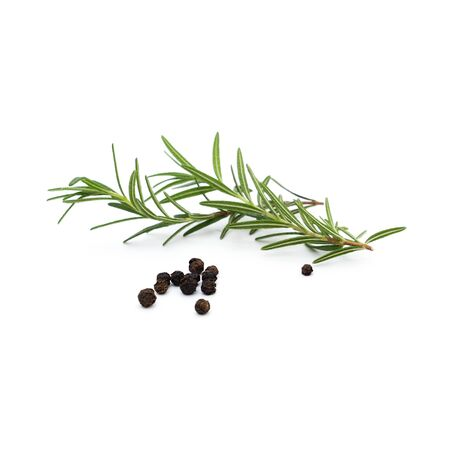 rosemary herb spice leaves and peppercorns isolated on white background