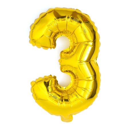 golden number three balloon party decoration anniversary  on white background Фото со стока