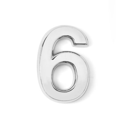 silver metal number six on white background