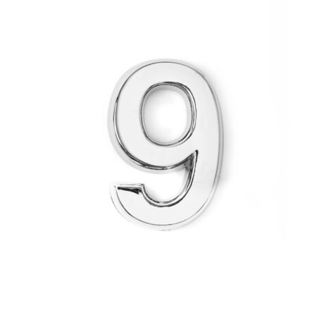 silver metal number nine on white background Фото со стока
