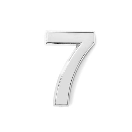 silver metal number seven on white background