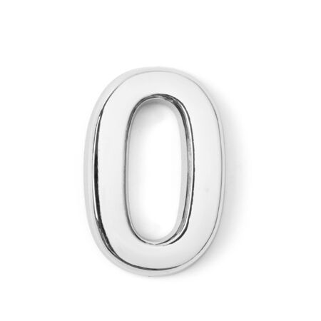 silver metal number zero on white background