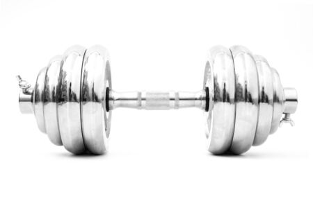 silver iron dumbbell isolated on white background Banco de Imagens