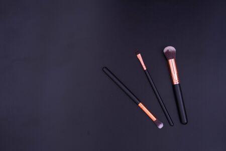 make up brushes on black background Banco de Imagens