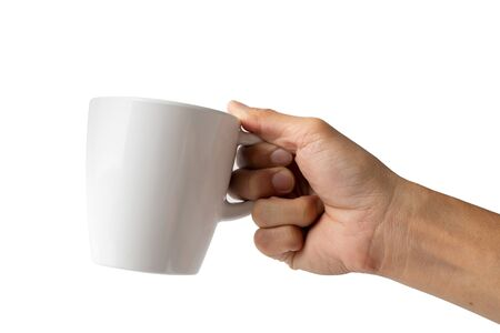 Hand holding cup on white 写真素材