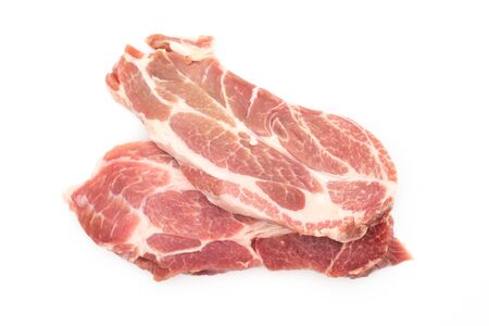 resh raw pork neck meat garlic pepper and rosemary isolated on white background