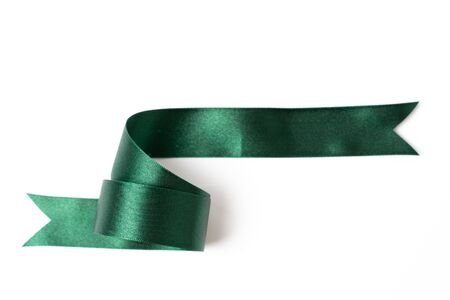 green banners ribbons label on white background