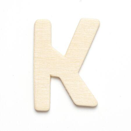 K wooden font letter on white blackground