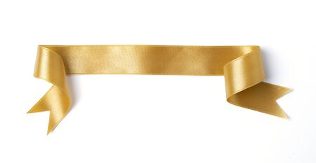 gold banners ribbons label on white background