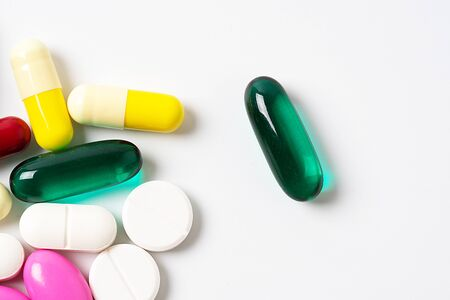 Assorted pills multicolored isolated on white background