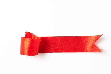Rode banners linten label op witte achtergrond