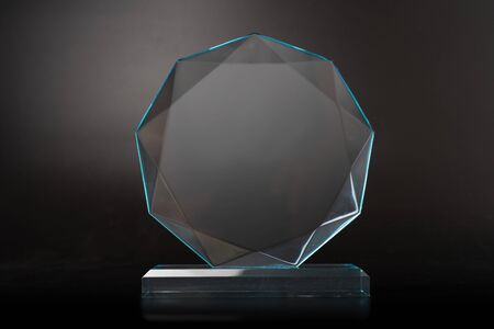 crystal blank award isolated on black background