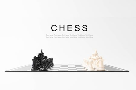 Set chess on a chessboard Stock Photo