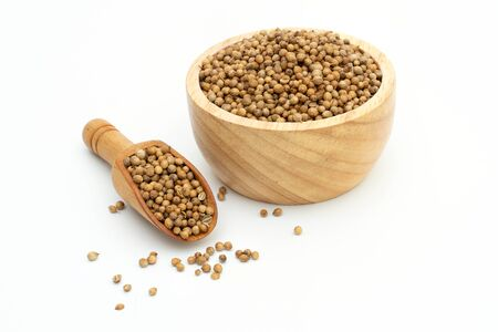 dried coriander seeds wooden bowl on white background