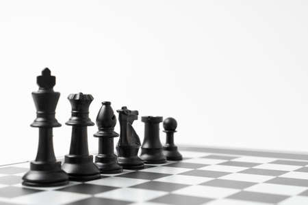 set chess on a chessboard background