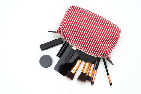 bag set decorative cosmetics on white 版權商用圖片