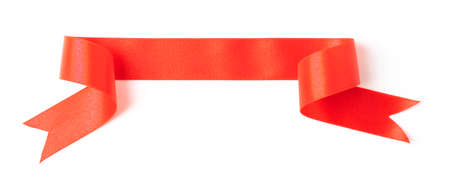 Red banners ribbons label on white background