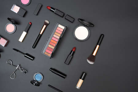 set decorative cosmetics on black background